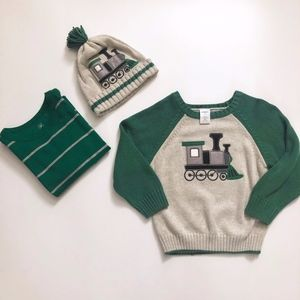 Boys Gymboree Train Sweater & Hat Gap Shirt 2T